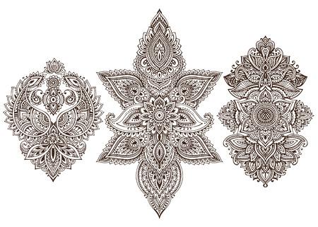 Vector ensemble d'éléments floraux au henné sur la base des ornements traditionnels asiatiques. collection Paisley Mehndi Tattoo Doodles