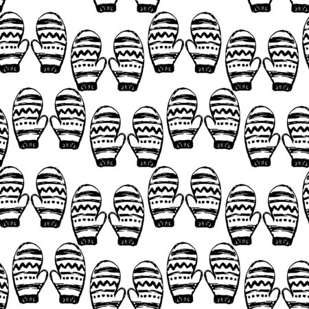 mittens: Seamless pattern with hand drawn mittens. Vector holiday endless background Illustration