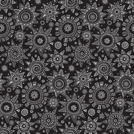 suns: Vector seamless pattern with graphic doodle suns, stars and tribal elements. Hand drawn endless background in black and white colors with many details and elements. Textile design