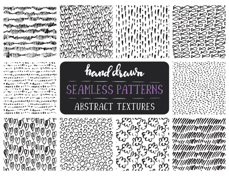 scratchy: Set of ten hand drawn ink seamless patterns. Endless vector backgrounds of simple primitive scratchy textures with dots, stripes, waves.