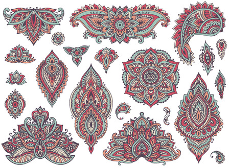 mendie: Big vector set of colorful henna floral elements and frames based on traditional Asian ornaments. Paisley Mehndi Tattoo Doodles collection