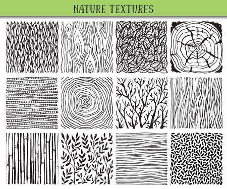12 手描きインク抽象的なテクスチャのセットです。単純なプリミティブ チクチク自然パターン、花、枝、葉のベクトルの背景.