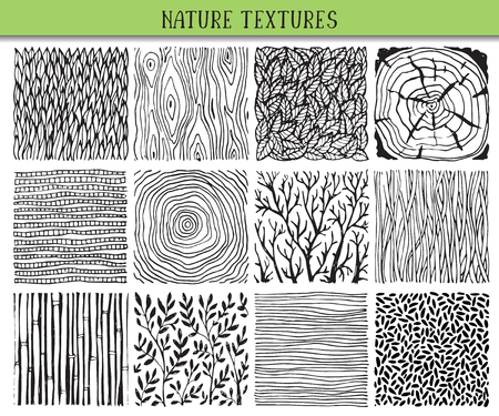 Set of twelve hand drawn ink abstract textures. Vector backgrounds of simple primitive scratchy nature patterns, flowers, branches, leaves.