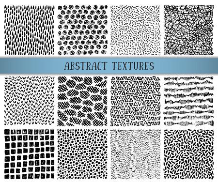 12 手描きインク抽象的なテクスチャのセットです。単純なプリミティブなチクチク パターン、波、ドット、ストライプのベクトルの背景