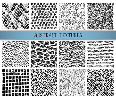 Set of twelve hand drawn ink abstract textures. Vector backgrounds of simple primitive scratchy patterns, waves, dots, stripes Ilustrace