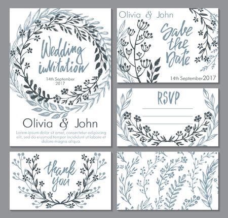 ベクトルのウェディング コレクション。招待状、礼状、日付、保存用のテンプレートは RSVP します。美しく描かれた花の装飾、ブーケを手、スケッ  イラスト・ベクター素材