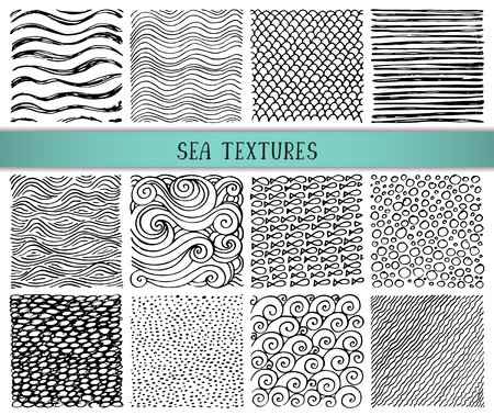 pebbles: Set of twelve hand drawn ink abstract textures. Vector backgrounds of simple primitive scratchy sea patterns, waves, scales, sand, pebbles, fish, ripple