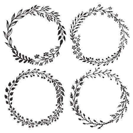 葉、花、果実、花の花輪を手描きのセットです。ベクトルのラウンド フレーム。黒と白のデザインの装飾的な要素はスタイルをスケッチします。