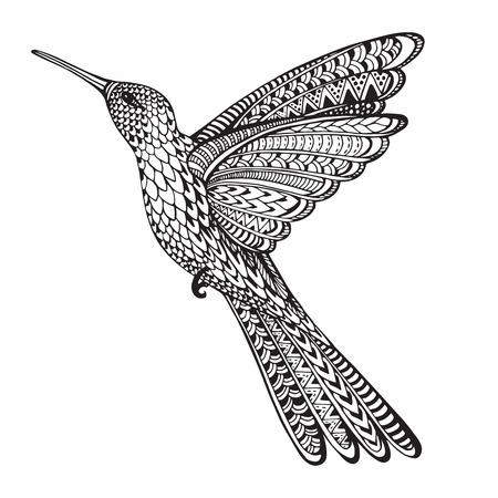 手描き下ろし抽象的な白い背景に分離された華やかな落書きスタイルでコリブリを飛んで観賞用のハチドリ。黒と白のベクトル図です。
