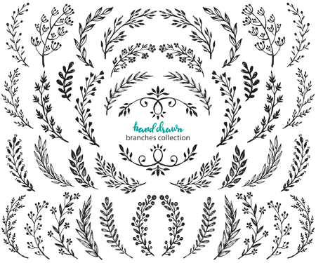 Big set of hand drawn flowers and branches with leaves, flowers, berries. Floral sketch collection. Decorative elements for design. Ink, vintage, rustic.