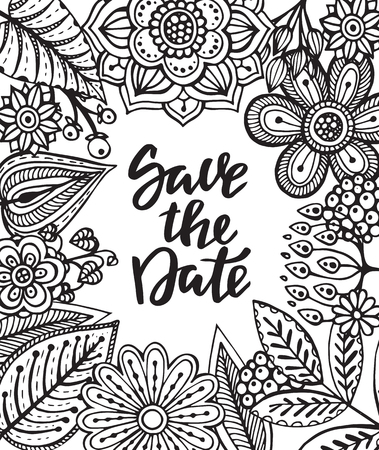 branches with leaves: Save the date card with hand drawn flowers, leaves and branches in sketch doodle style. Black and white illusrtration
