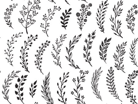 twigs: Seamless pattern with hand drawn leaves and branches. Illustration