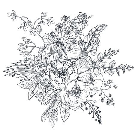 illustration: Floral composition. Bouquet with hand drawn flowers and plants. Monochrome vector illustration in sketch style.