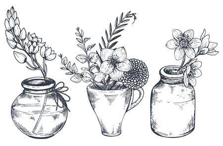 花の組成のセットです。花束は、描かれた花や花瓶や瓶に植物を手します。スケッチ風のモノクロ背景イラスト。