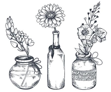 Boeketten met de hand getekende bloemen en planten in vazen ??kruiken.