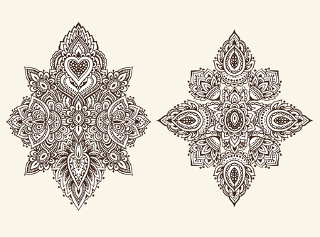 Vector set of henna floral elements based on traditional Asian ornaments. Paisley Mehndi Tattoo Doodles collection