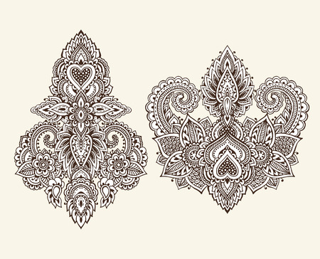 Henna Mehndi Vector : Big vector set of henna floral elements and frames based on