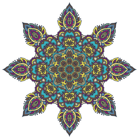 mendie: Vector mandala pattern of henna floral elements based on traditional Asian ornaments. Paisley Mehndi Tattoo Doodle illustration