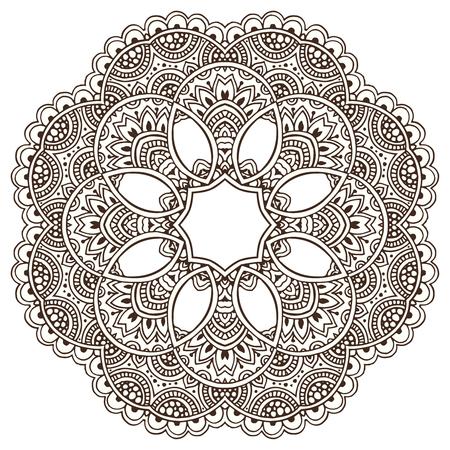 Vector mandala pattern of henna floral elements based on traditional Asian ornaments. Paisley Mehndi Tattoo Doodle illustration