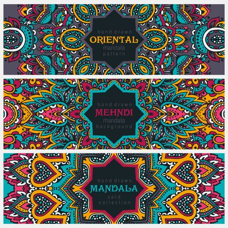 oriental vector: Set of three horizontal cards or flyers with abstract henna mehndi ornament. Decorative colorful pattern with ornate texture, tribal ethnic oriental motif. Vector illustration