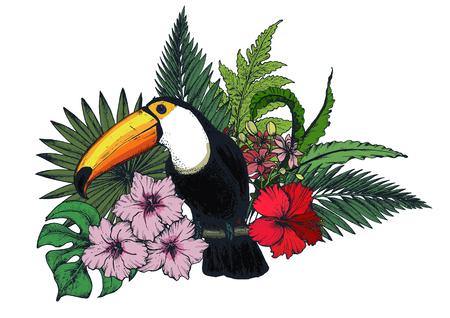 熱帯の花やエキゾチックな鳥のベクトル成分。  イラスト・ベクター素材