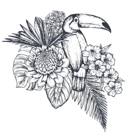 Composición de vectores de flores tropicales, hojas de palma, plantas de selva, ramo de paraíso con aves exóticas. Ilustración floral hermosa aislada en el fondo blanco en estilo del bosquejo. Foto de archivo - 80912131