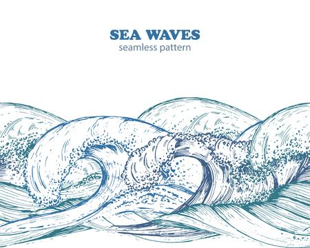 手描きスケッチ スタイルの波とシームレスなボーダー パターン。青い色で黒と白のベクトル イラスト。  イラスト・ベクター素材