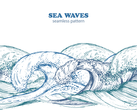 Seamless border pattern with hand drawn sea waves in sketch style. Black and white vector illustration in blue colors.