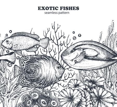 Vector zwart-wit naadloos overzees patroon met tropische vissen, algen, koralen. Onderwaterwereld. Zwart-wit hand getekend grafische eindeloze achtergrond