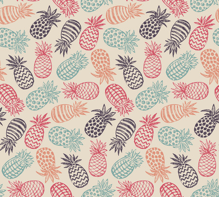 Vector seamless pattern with hand drawn graphic sketch pineapple fruits. Colorful endless vector background.