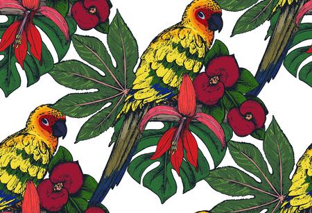 Patrón transparente de vector con composiciones de flores tropicales dibujadas a mano, hojas de palmera, plantas de la selva, bouquet de paraíso con aves exóticas. Fondo infinito floral colorido hermoso Foto de archivo - 82182079