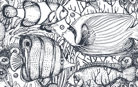 Vector monochrome seamless sea pattern with tropical fishes, algae, corals. Underwater world. Black and white hand drawn graphic endless background