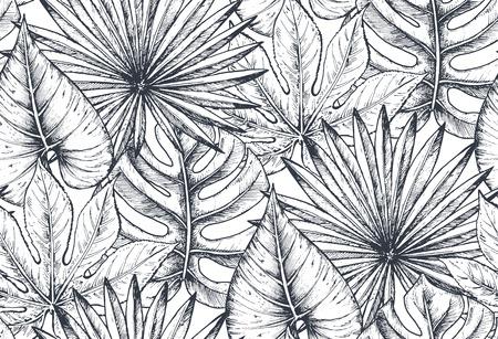 Patrón transparente de vector con composiciones de flores tropicales dibujadas a mano, hojas de palma, plantas de la selva, bouquet de paraíso. Hermoso fondo infinito floral bosquejado blanco y negro