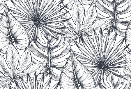 Vector seamless pattern with compositions of hand drawn tropical flowers, palm leaves, jungle plants, paradise bouquet. Beautiful black and white sketched floral endless background Imagens - 83921408