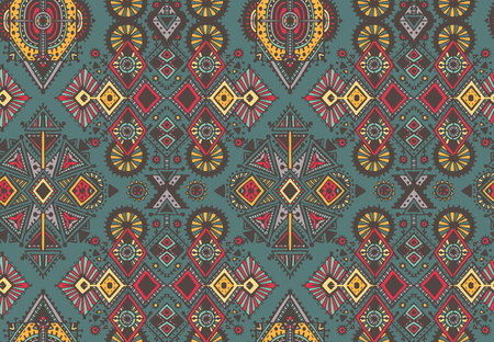 Vector hand drawn seamless pattern with tribal abstract elements