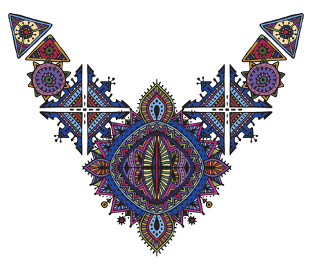 Tribal art boho hand drawn geometric pattern. Illustration