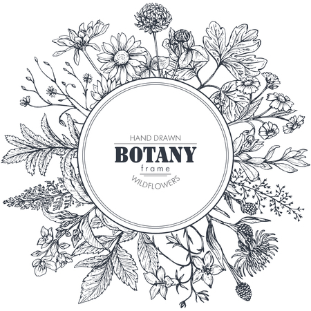 Vector circle frame with black and white hand drawn herb and wildflower elements for wedding invitations, birthday cards.