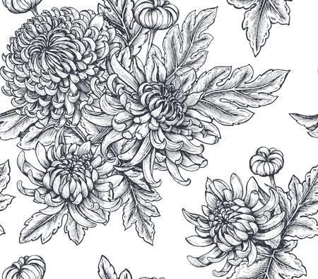 手でシームレスなパターンをベクトル白い背景に菊の花を描かれました。  イラスト・ベクター素材