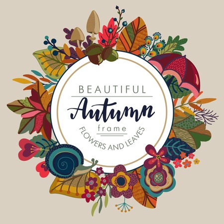 Vector autumn frame with lettering and place for text. Fall templates for greeting card, invitation, poster with beautiful bright leaves, flowers, mushrooms.  イラスト・ベクター素材