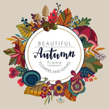 ベクトル文字のテキストと秋フレーム。グリーティング カード、招待状、明るい美しいポスターのテンプレートを秋の葉、花、キノコ。