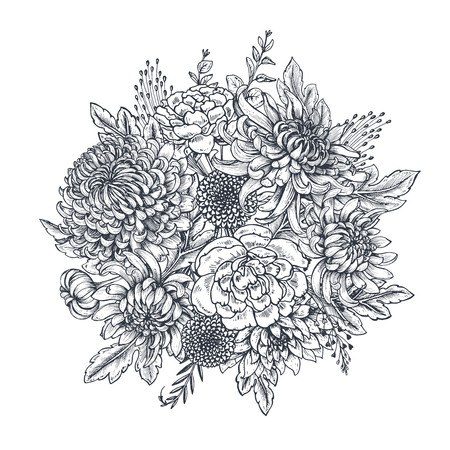 Vector bouquet with black and white hand drawn chrysanthemum flowers in sketch style. Beautiful floral background