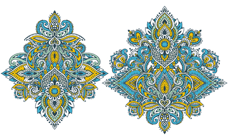 VAn abstract Vector pattern set of henna floral elements design
