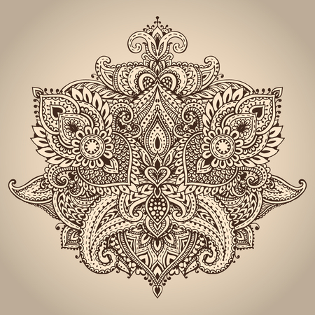 Vector pattern of henna floral elements