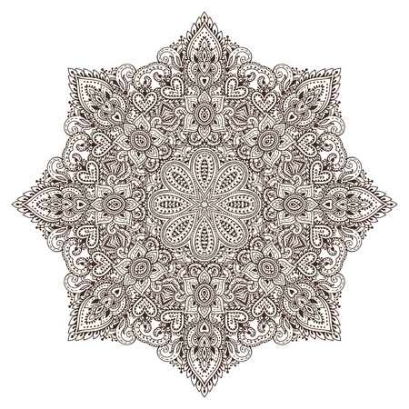 Vector mandala pattern of henna floral elements based on traditional Asian ornaments. Paisley Mehndi Tattoo Doodle illustration with hand drawn elements Illustration