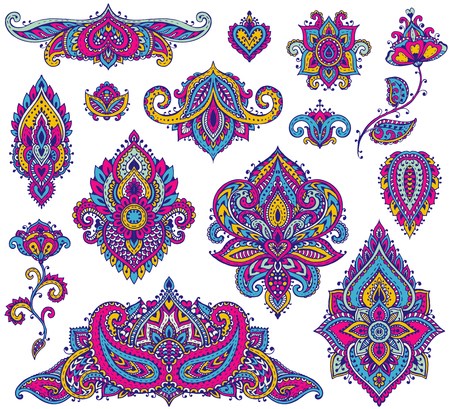 Big vector set of colorful henna floral elements based on traditional Asian ornaments. Paisley Mehndi Tattoo Doodles collection.