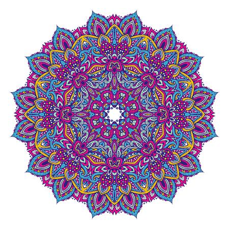 Vector hand drawn mandala pattern of henna floral elements