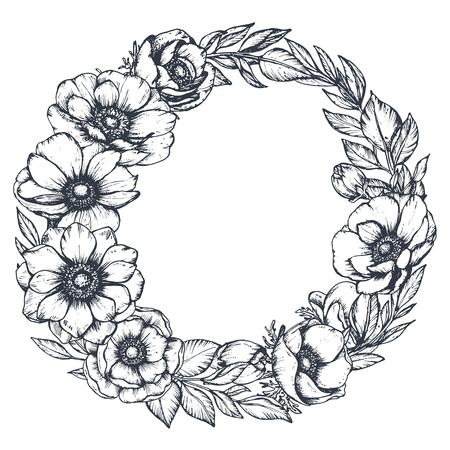 Wektor czarno-biały wieniec kwiatowy ręcznie rysowane kwiaty Zawilec