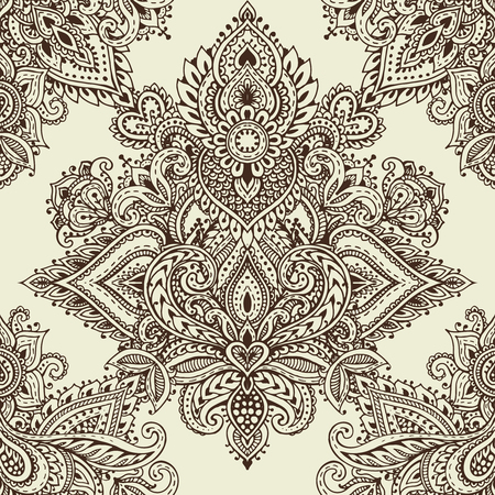 Vector seamless pattern with hand drawn henna mehndi floral elements. Beautiful endless background in oriental indian style Çizim