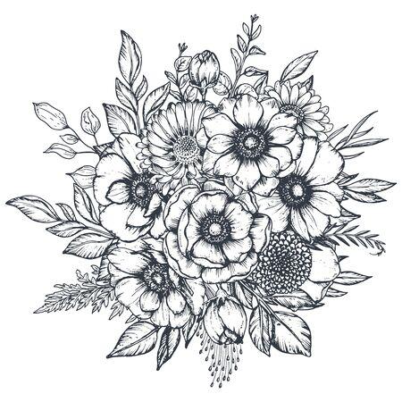 Composition florale de vecteur noir et blanc, bouquet de fleurs d'anémone dessinés à la main, isolé sur fond blanc.