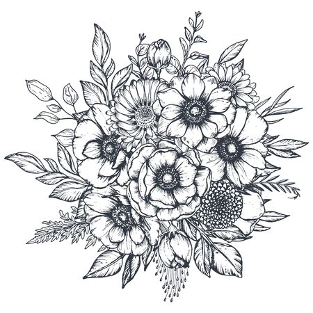 Vector black and white floral composition, bouquet of hand drawn anemone flowers isolated on white background.